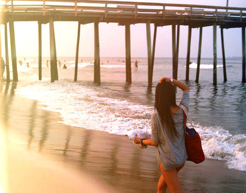 beach, girl, hand, look, pier, sand, shore, sky, summer, walk, water, waves, wood