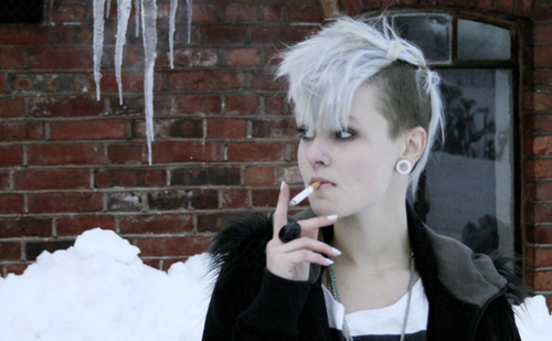 beautiful, black, brick, cigarette, cold, gauges, girl, ice, mohawk, plugs, pretty, ring, snow, stretched ears, white hair