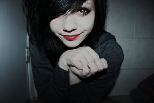 beautiful, black hair, eyes, girl, hair, hands, lips, nose, pale, pretty, red, red lips, skin, skinny, soft, white skin, red dark