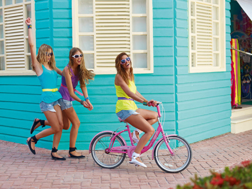bicicle, bike, blue, colors, cute, doll, drive, friends, girls, good, house, laugh, little, photography, photoshoot, purple, summer