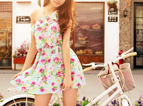 bicicle, bike, dress, drive, flowers