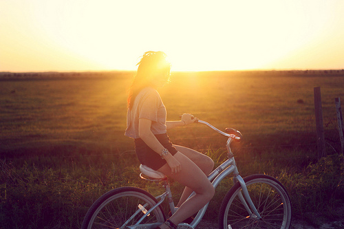bicycle, breeze, country, field, girl, grass, lovely, nature, pretty, separate with comma, summer, sunlight, sunset, vintage