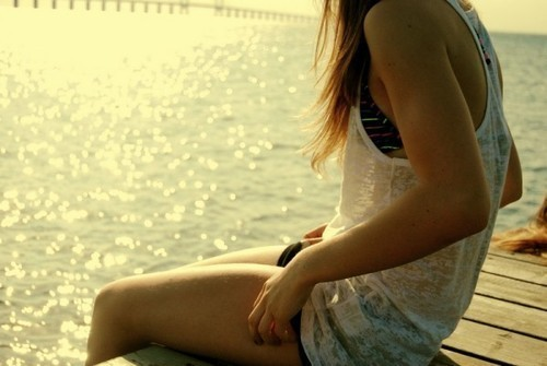bikkini, girl, lake, pier, shore, shorts, sit, sun, wait, water, wood