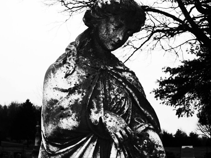 black and white, cemetery, creepy, dark, darkness