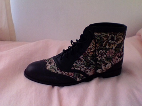 black, boot, cute, fashion, floral