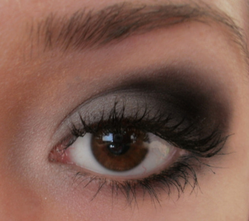 black, brown, eye, eye make up, eyebrow, eyelashes, fckingbored, grey, make up, smokey eyes, white