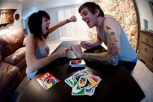 black hair, boy, brunette, couple, cute, fashion, friends, game, girl, guy, smile, tattoo, uno