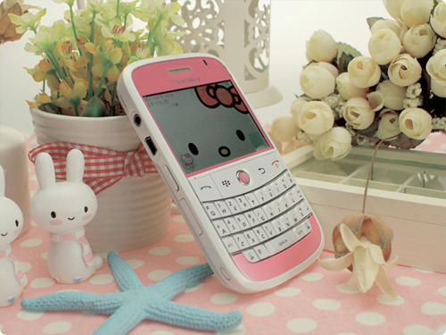 blackberry, cute, flowers, hello kitty, phone