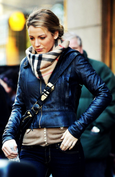 blake lively, blond, burberry, fashion, girl, gossip girl, leatherjacket, serena van der woodsen, updo