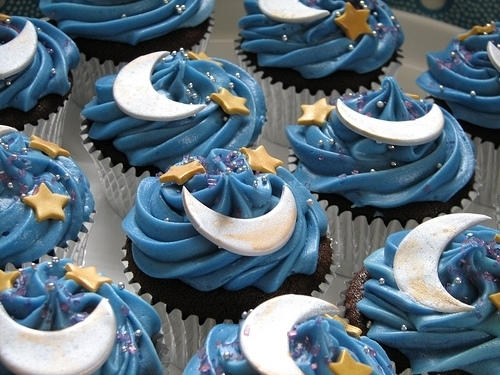 blue, cupcakes, moon, star, starry night