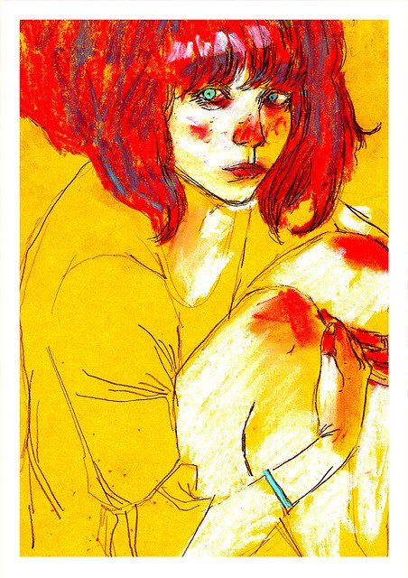 book, colours, drawing, girl, girls, hands, illustration, text, red, cute, hair