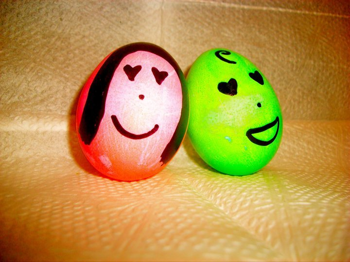 boy, couple, cute, easter, eggs
