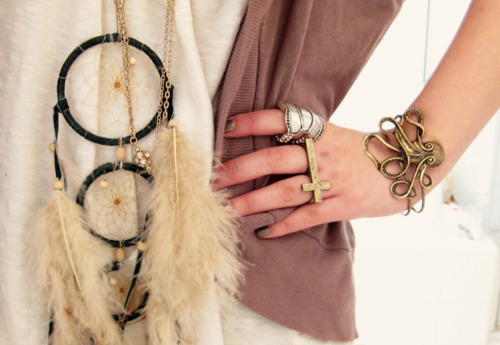 bracelet, dream catcher, fashion, girl, hand, nail polish, necklace, ring, rings, shirt