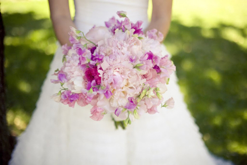 bride, dress, flowers, pink, purple, white