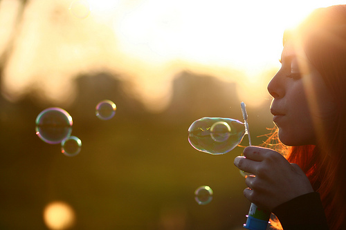 bubbles, girl, photo, photography, sunlight