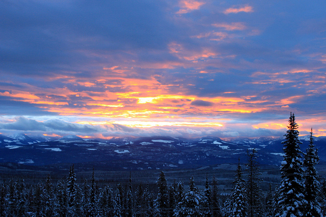 canada, mountain, snow, sunrise, winter