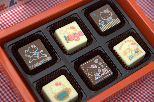 chocolate, hello kitty, i want, kawaii