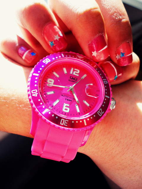 clock, hands, izy, nails, pink, q&q, star, time, watch