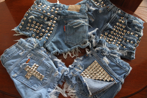 clothes, cross, fashion, jean, jeans, sabo skirt, shorts, studded, studs