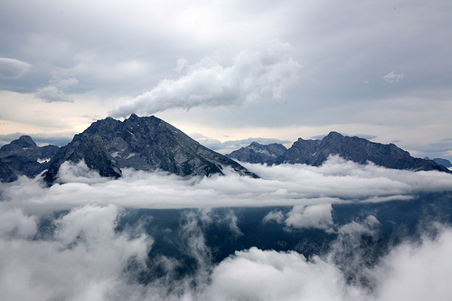clouds, landscape, mountains, sky