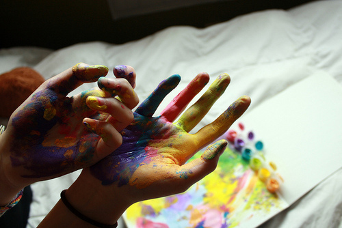 color, girl, hands, paint