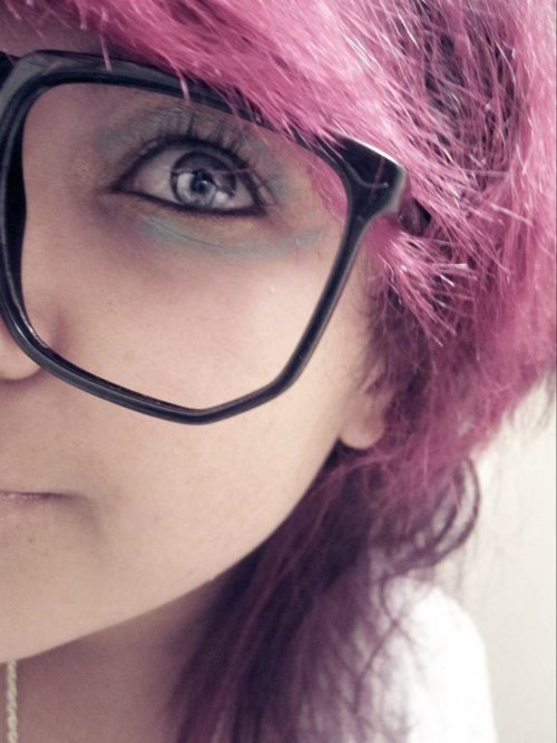 colored hair, cute, eyeliner, eyes, girl, glasses, gray eyes, hair, kawaii, magenta, magenta hair, makeup, pink, pink hair, smile