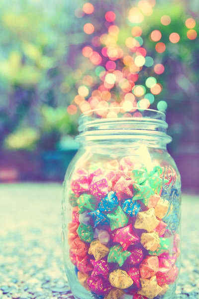 colorful, cute, jar, origami, stars