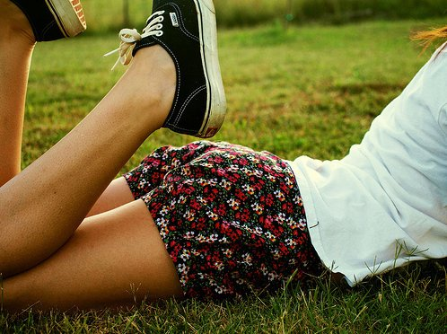 converse, feet, flowers, girl, grass