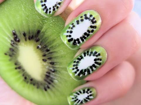 cool, food, fruit, gamei nessa unha, kiwi, manicure, nails
