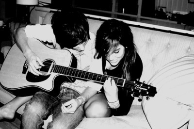 couple, guitar, love, music, playing guitar