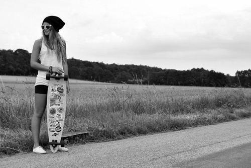 cute, girl, longboard