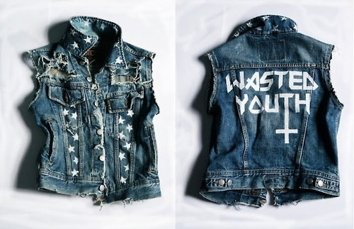 fashion, girl, jean jacket, vintage