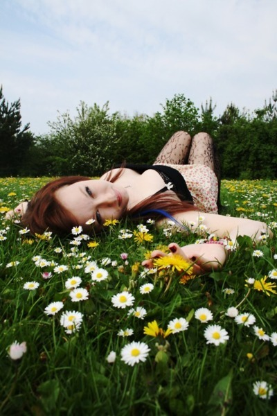 field, flowers, garden, girl, grass