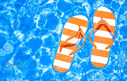 flip flops, flipo-flop, pool, sandals, summer, water