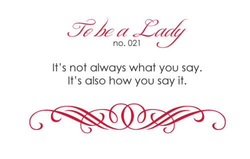 lady, rule, rules, to be a lady