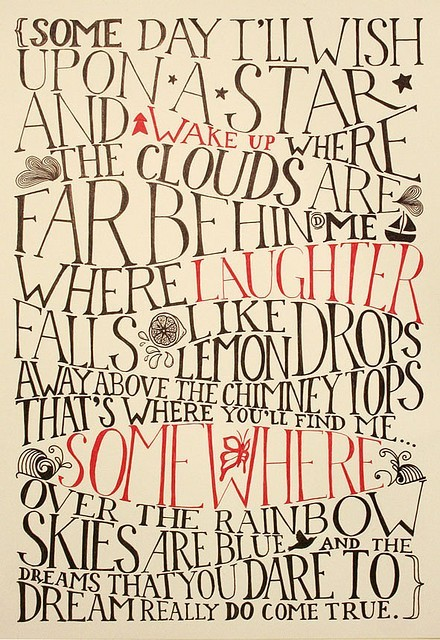 lyrics, over the rainbow, poster, song, typography