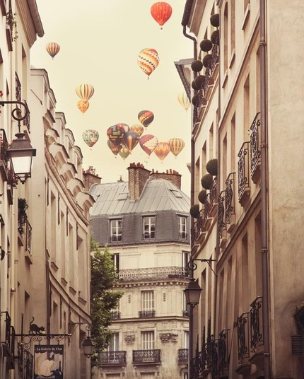 balloon, city, hot air balloon, paris, romantic