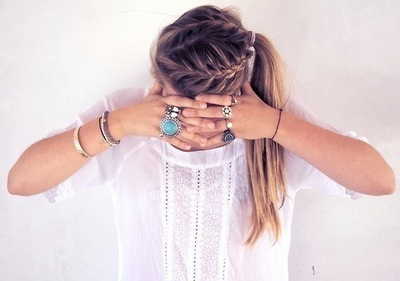blonde, bracelets, braid, fashion, girl, girly, hair, ring, rings, style, top, white