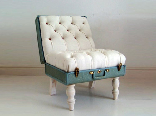 blue, chair, chesterfield, couch, creativity, cushion, luggage, postcards from far away, pure, retro, suitcase, white