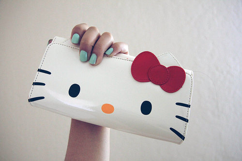 cute, hello kitty, nails, turquoise, wallet