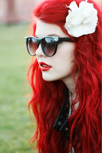 dyed hair, girl, megan, red hair, red lips, redhead, ruiva, sunglasses