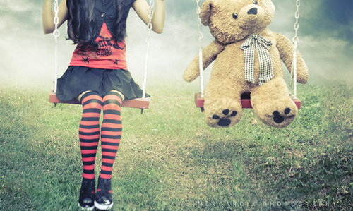 adorable, aww, bear, black and white, black skirt, cute, emo, fashion, girl, hair, knee socks, nature, omg, paws, photography, red, red and black, red shirt, ribbon, shoes, skirt, stockings, stripes, swings