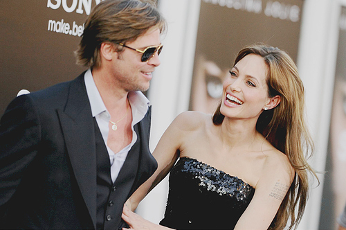 angelina jolie, beauty, brad pitt, couple, red carpet
