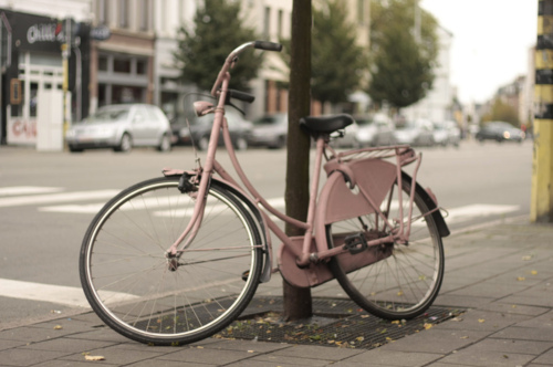 antwerp, bicycle, photography, pink, pretty, vintage