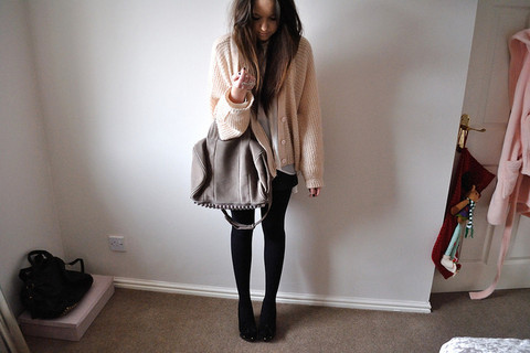 back, bag, cardigan, fashion, girl, photography, vintage