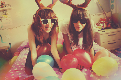 balloon, balloons, beautiful, bestfriends, besties, brown hair, color, colors, friends, funny, girl, girls, hair, sunglasses
