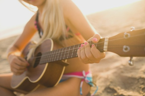 beach, bikini, fashion, guitar, photography, pretty, summer, sun, sunset