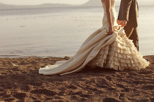 beach, dress, gown, kiss, love