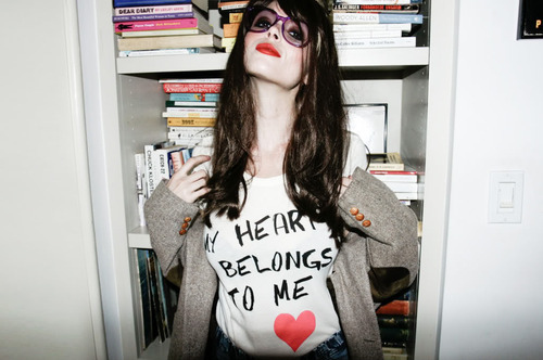 beautiful, books, brown, brown hair, dark, dark hair, fashion, girl, glasses, gorgeous, hair, love heart, red lips, truth