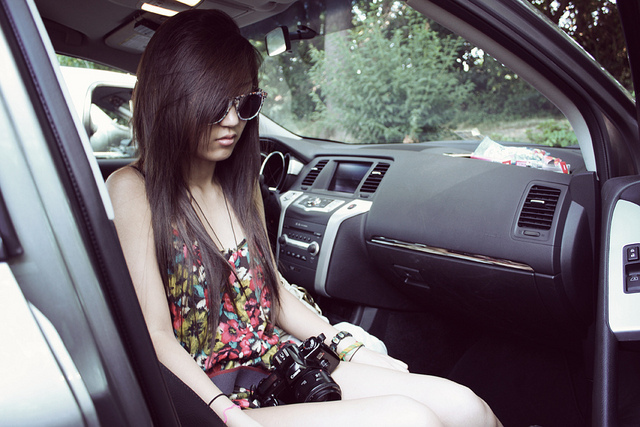 beautiful, brown hair, camera, car, dark hair